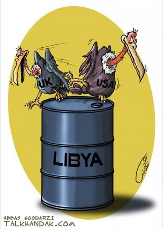 libya,نفت,لیبی,لاشخور,غرب,آمریکا,انگلیس,کاریکاتور,گودرزی,عباس,هنر,کرکس,بشکه,دزد,USA,روباه,النسور غربی,oil