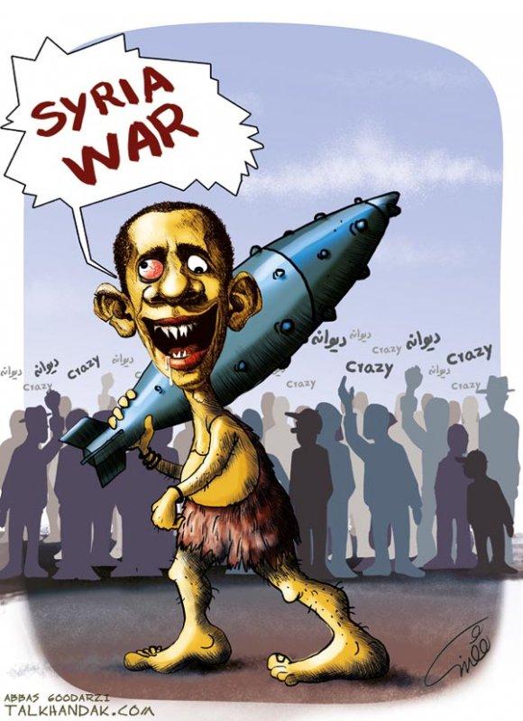 اوباما,جنگ,موشک,بمب,سوریه,Syria,کاریکاتور,گرز,چماق,غار نشین,سیاسی,سیاست,سیاسی,کارتون,عباس گودرزی,مردم,crazy