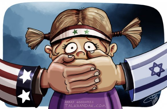 کاریکاتور,سوریه,جنگ,آزادی,اسرائیل,آمریکا,سیاسی,سیاست,دختر,بچه,دست,وحشت,پرچم,سربند,گودرزی