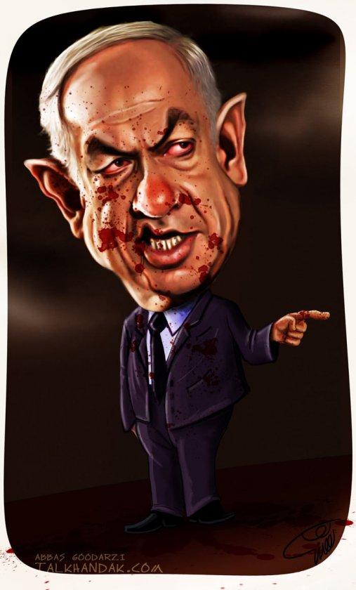 کاریکاتور,نتانیاهو,رزیم,اسرائیل,چهره,نقاشی,سیاسی,سیاست,گودرزی,عباس گودرزی,فلسطین