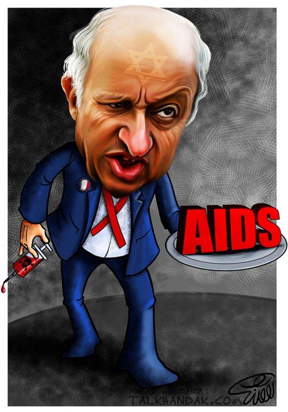 ایدز,فابیوس,فرانسه,پژو,خون آلوده,سیاست,سیاسی,کارتون,کاریکاتور,ویروس,fabius-cartoon