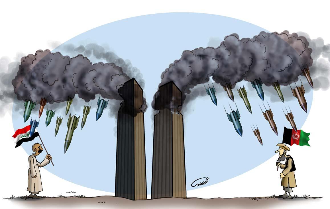 کاریکاتور - سیاسی - اوباما - عراق - افغانستان - 11 سپتامبر - آمریکا - ایران - مردم - برج - دوقلوه - برجها - هواپیما - انهدام - انفجار - گودرزی - عباس - کارتون - سیاسی - سیاست - جنگ - اشغال - پرچم - عرب - دود - بمب - موشک - رنگی - یهود - ظلم - ستم - سایه