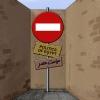 بن بست,کاریکاتور,سیاسی,مصر,انقلاب,محمد مرسی,نخست وزیر,رئیس جمهور,کارتون,کوچه,تابلو,ورود ممنوع,دیوار