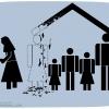 کاریکاتور,زن,خانواده,خانه,شغل,کار,شاغل,دختر,پسر,فرزند بیشتر,زندگی بهتر,منزل,سقف,بچه