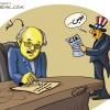 AMANO,USA,عباس,سیا,اطلاعات,میز,نوشته,مداد,عباس,تلخندک,فشار,دروغ,شلاق,کاریکاتور,گودرزی,انرژی,هسته ای,آژانس,اتمی,ایران,تحریم,املا,نوشتن,زور,آمریکا,اسراییل
