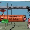 Export terrorists Of Saudi,کاریکاتور,صادرات,عربستان,ترور,نفت,طلا,خطرناک,عکس,تصویر,عباس,گودرزی,ملک,عبداله,غرب,عرب,شمشیر,مرز,تلخ,لوله,بزرگ,بمب,انتهاری,انفجار