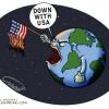 Down With America,مرگ بر آمریکا,کاریکاتور,کاریکاتور سیاسی,سیاست,دنیا,مردم,جهان,بیداری اسلامی,پرچم,آتش زدن