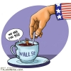 قهوه,چای,فنجون,فنجان,کاریکاتور,سیاسی,آمریکا,دست,عباس,گودرزی,وال استریت,کاپیتالیسم,ظلم,مردم,غرق,کمک,قاشق,غرب,سرمایه