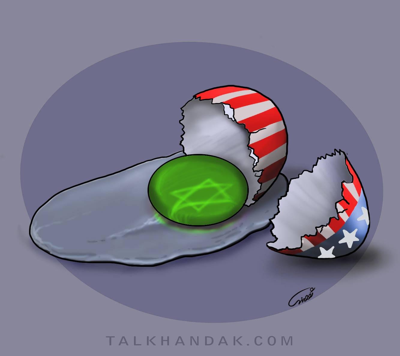 سبز - تخم مرغ - آمریکا - شکسته - اسرائیل - پوسته - زرده -  سبزه - کاریکاتور - سیاسی - عباس - گودرزی - کارتون - موسوی - جلبک - سفیده - abbas-  goodarzi - egg - usa - iran - art - تصویر سازی - نقاشی - دیجیتال - فتنه - قرمز - آبی - ستاره - ستاره پنج پر - ستاره داوود - با کیفیت